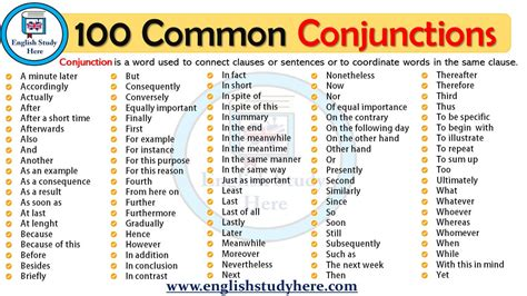 100 Common Conjunctions - English Study Here