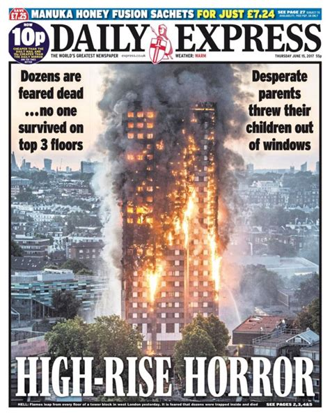 'Hell On Earth': London tower fire disaster dominates