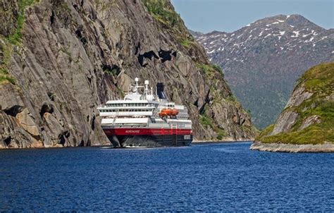 Wallpaper sea, rocks, Norway, cruise liner images for