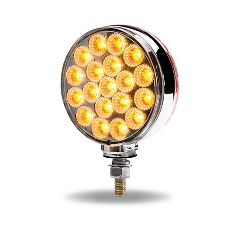 Clear Amber / Clear Red Turn Signal & Marker Round Double